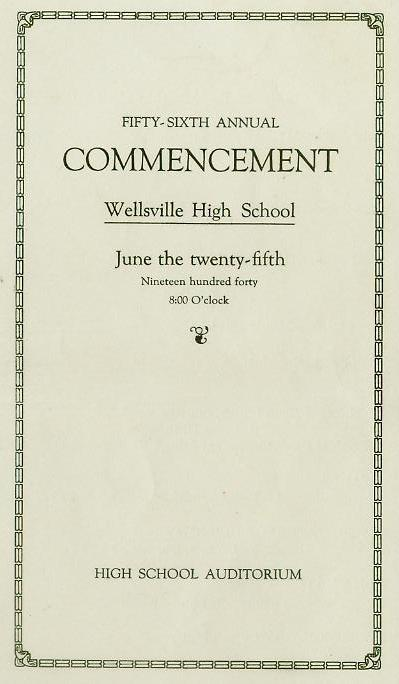 1940 Commencement Program pg 1