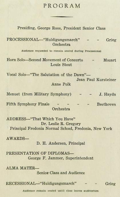 1940 Commencement Program pg 2