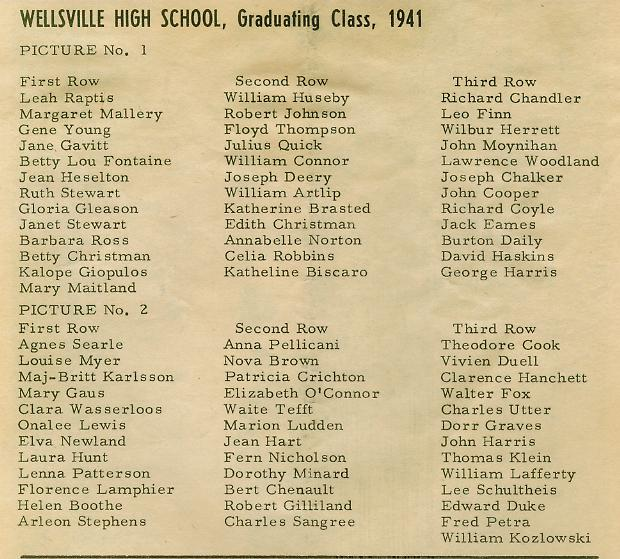 1941 graduation photo  name list
