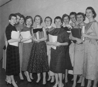 Joan Harkness, Melissa Marsh, Carol Meyers, Barb Armstrong, Helen Driscoll, Carolyn Schramm, Rita Gary, Sylvia Austin, Sue Stuart, Ann Braunschweiger, Suzanne Jensen
