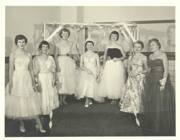 Junior Prom Queen and her court, 1955
