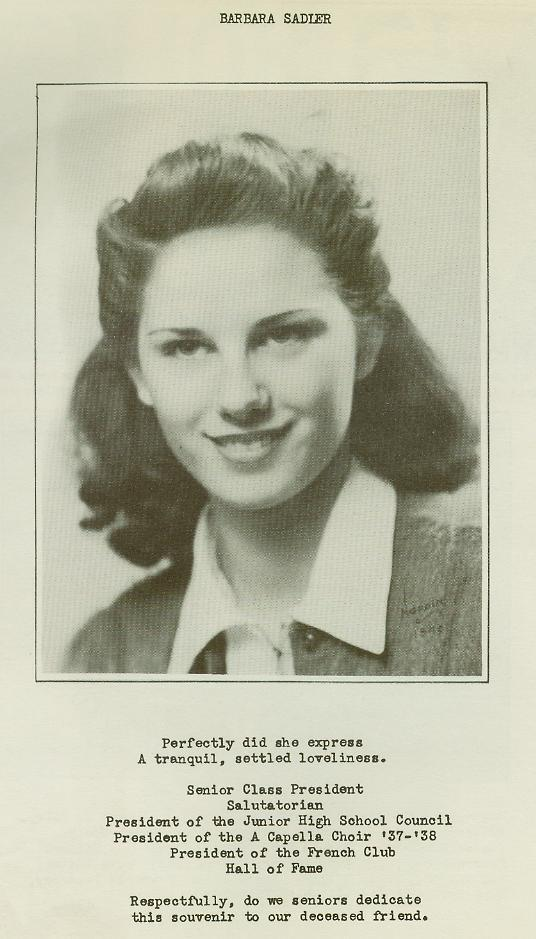 Wellsville High School Class of 1940 pg13 Barbara Sadler
