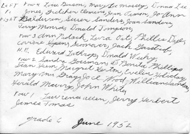 student names grade 6 1952