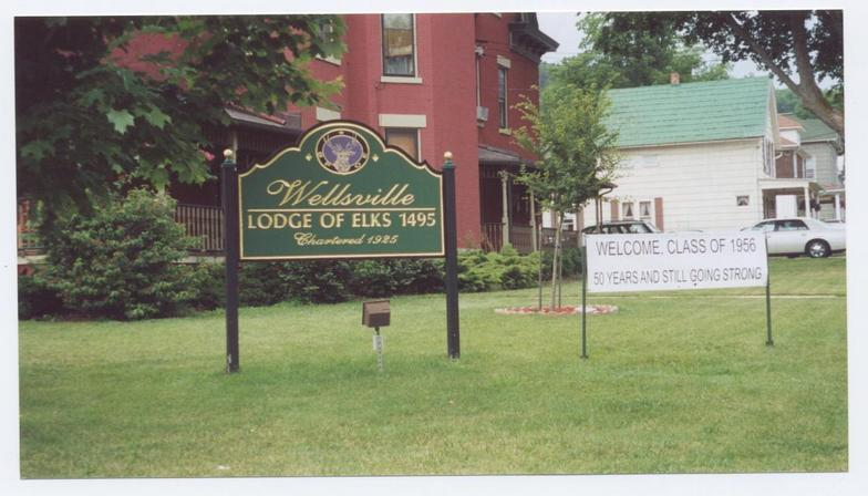 welcoming sign outside the Elks Club