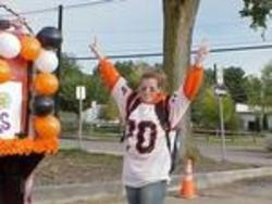 Tiff gets pumped to ride our sophmore float.