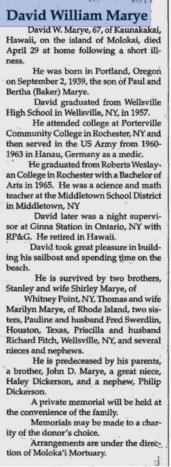 DAVID MARYE 1957