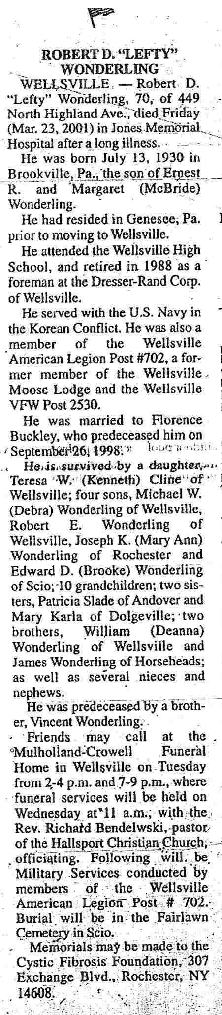 LEFTY WONDERLING OBIT