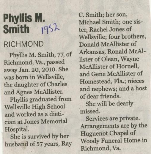 Phyllis McAllisterSmith 1952