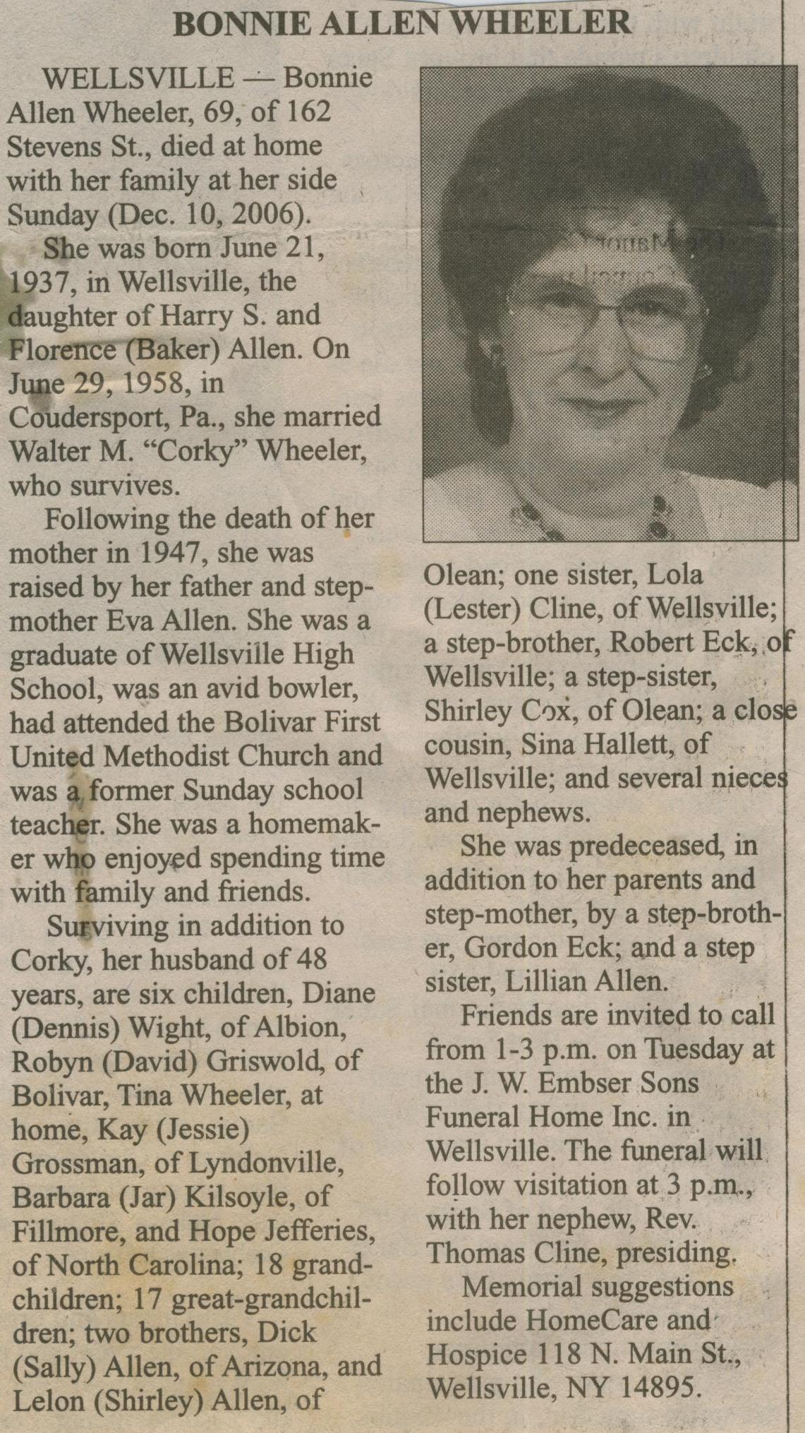 obit Bonnie Allen Wheeler
