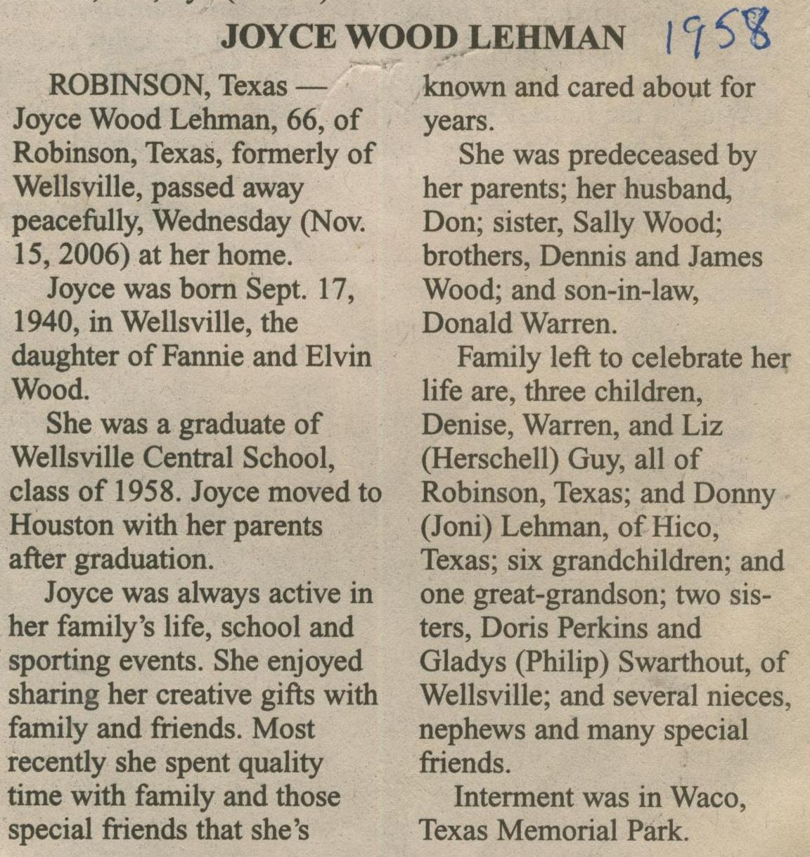 obit Joyce Wood Lehman