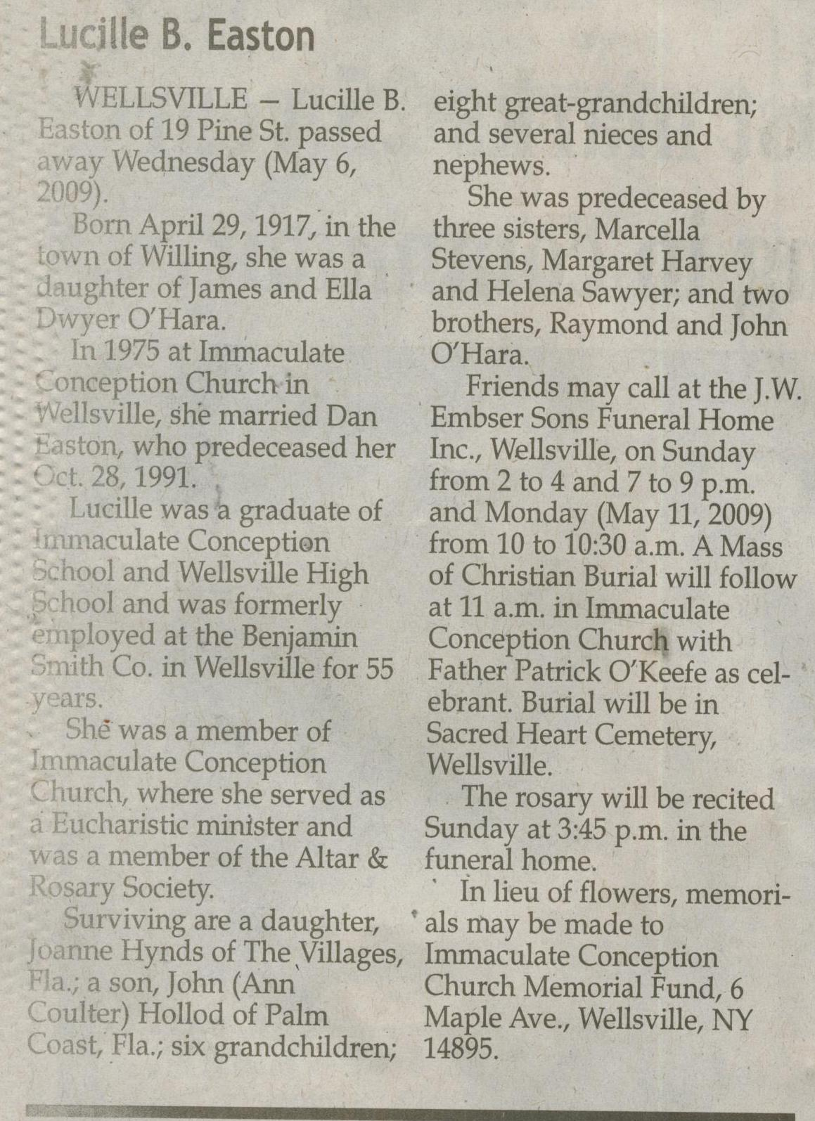 obit Lucille O'Hara Easton