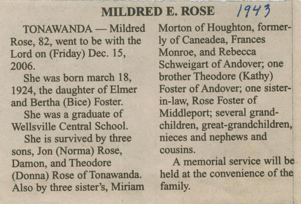 obit Mildred Foster Rose