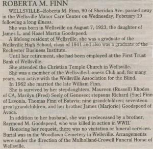 obit Roberta Goodspeed Finn