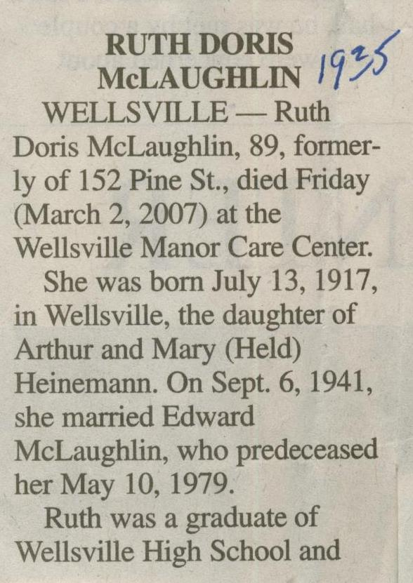 obit Ruth Heinemann McLaughlin 1