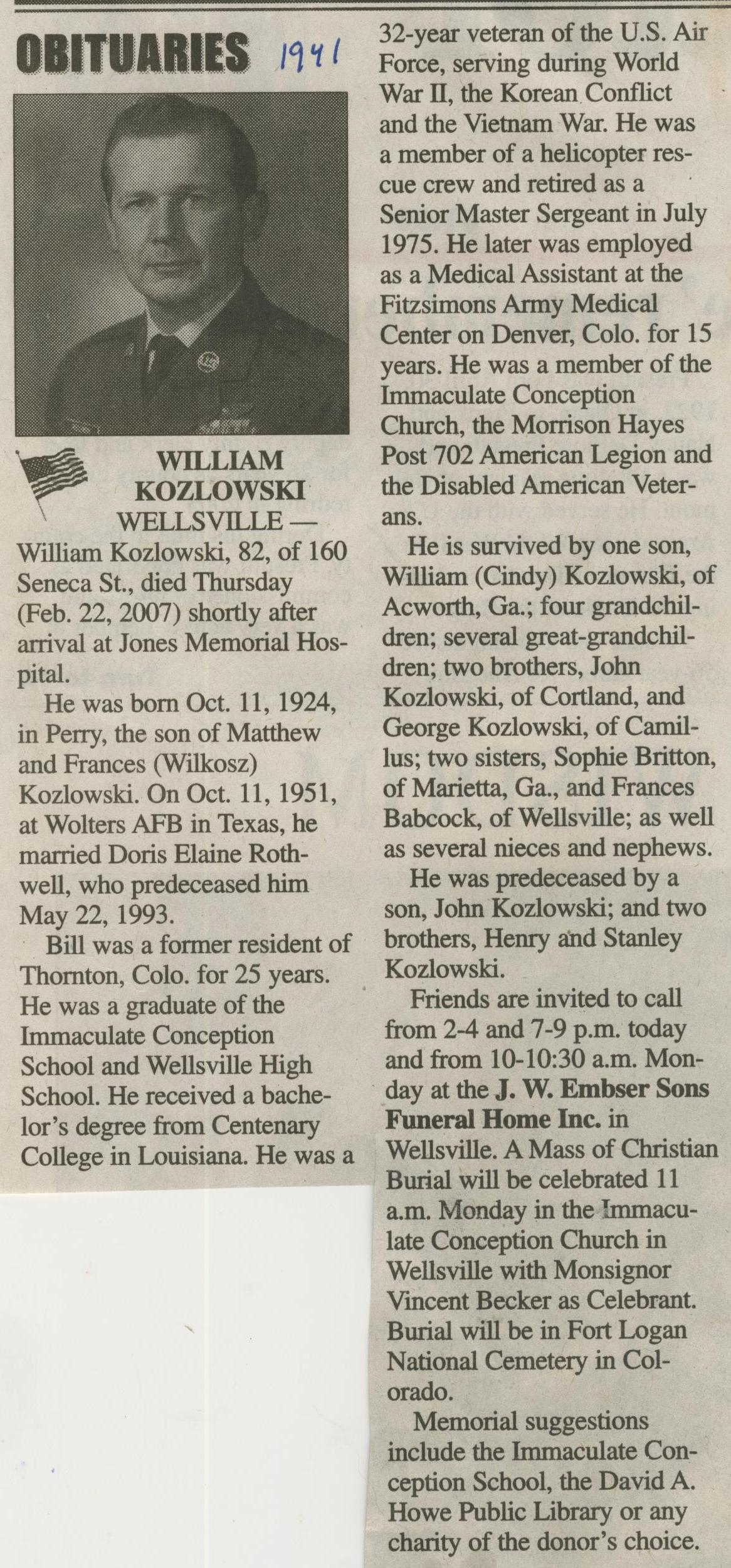 obit William Kozlowski